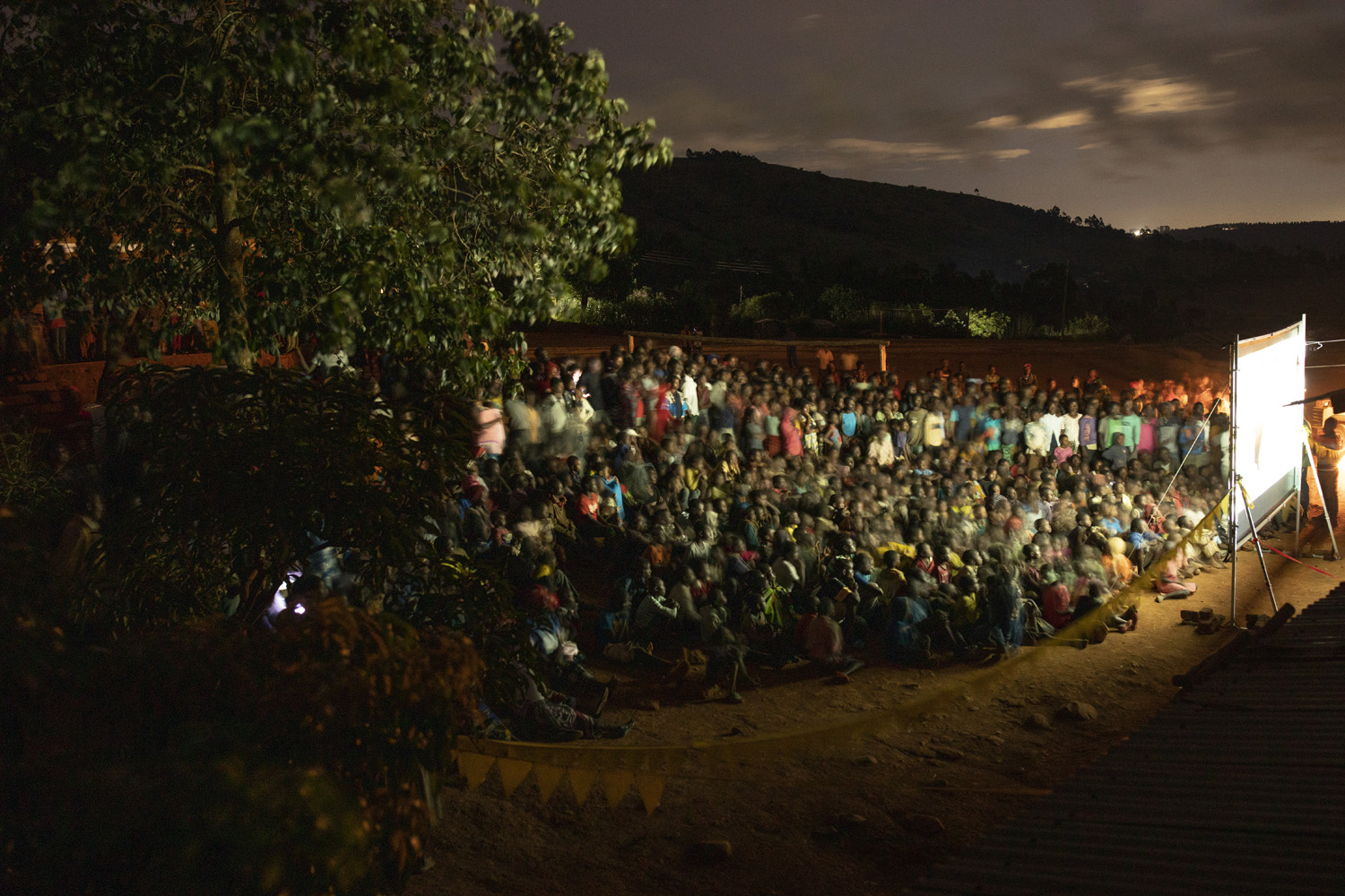 Large audience solar powered movie screening in Malawi